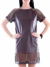 Brown Faux Leather Laser Cut Dress - Fuziv