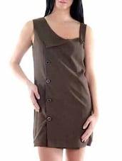 Brown Polyester Dress - Fuziv