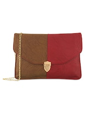 Brown Leatherette Sling Bag - By