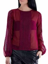 Pink Lace Panel Sheer Top - Fuziv