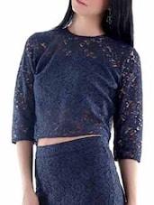 Blue Lace Crop Top - Fuziv