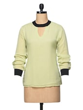 Lime Green Round Neck Long Sleeve Georgette Top - BLUEBERY D C