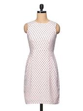 Polka Dot Sleeveless Round Neck Short Dress - BLUEBERY D C