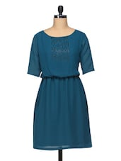 Round Neck Three Quarter Sleeve Georgette Dress With Beads Embellishment - BLUEBERY D C