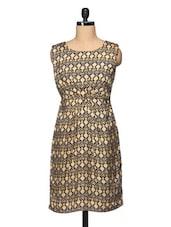 Printed Boat Neck Sleeveless Dress - BLUEBERY D C