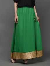 Georgette Ethnic Maxi Skirt With  Tassel - Klick2Style