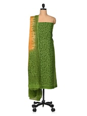 Mehendi Green And Saffron Printed Cotton Unstitched Suit Set - VarEesha