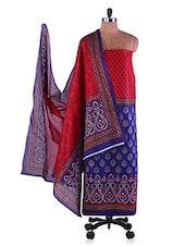 Red & Blue Printed Suit Set - Ethnic Vibe