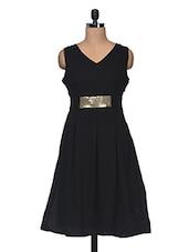 Black  Sleeveless V Neck Embellised Dress - Anshi