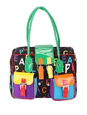 Multicolor Cotton Quotes Color Block Hand Bag - THE JUTE SHOP