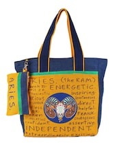 Blue & Yellow Aries Quoted Jute Bag - THE JUTE SHOP