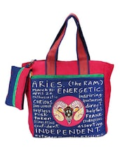 Pink & Blue Aries Quoted Jute Bag - THE JUTE SHOP