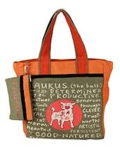 Orange & Green Taurus Quoted Jute Tote Bag - THE JUTE SHOP