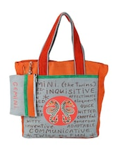 Orange & Grey Taurus Quoted Jute Tote Bag - THE JUTE SHOP