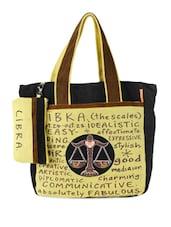 Black & Yellow Libra Jute Tote Bag - THE JUTE SHOP