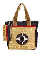 Black & Brown Saggitarius Jute Tote Bag - THE JUTE SHOP