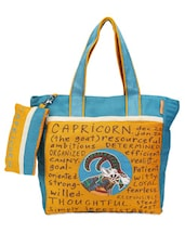 Blue & Yellow Capricorn Jute Tote Bag - THE JUTE SHOP