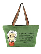 Olive Quoted Jute Bag - THE JUTE SHOP