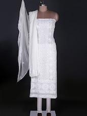 Pure Georgette White Chikankari Unstitched Suit - Ada