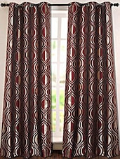 Burgundy And Golden Printed Polyester Door Curtain - Deco Essential