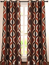 Brown And Golden Printed Polyester Door Curtain - Deco Essential