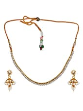 Dashing White Gold Pearl Necklace Set With Earrings - Maayra