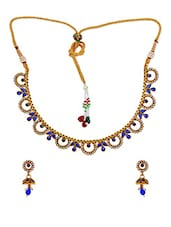 Awesome Blue Stone Work Necklace Set With Earrings - Maayra