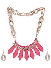Pinky Funky Casual Metal Necklace Earrings Set - Modish Look
