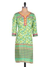 Green & Yellow Printed Cotton Kurta - Jaipurkurti.com