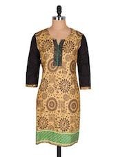 Black & Beige Warli Print Cotton Kurta - Jaipurkurti.com