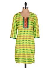 Green Printed Cotton Kurta - Jaipurkurti.com