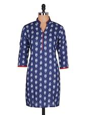 Blue Printed Cotton Kurta - Jaipurkurti.com