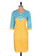 Blue & Yellow Printed Cotton Kurta - Jaipurkurti.com