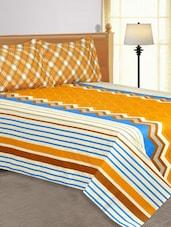 Multi Colored Chevron Striped Printed Cotton Double Bedsheets - Salona Bichona