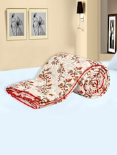 Multi Colored Floral Printed Cotton Double Quilt - Salona Bichona