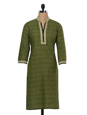 Green Casual Cotton Printed Kurta - Kaccha Taanka