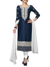 Navy Blue Lilan Cotton Embroidered Dress Material - By