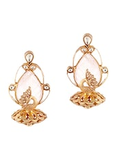 Gold, Pink Gold Plating, Stone Statement Pieces Earring - By