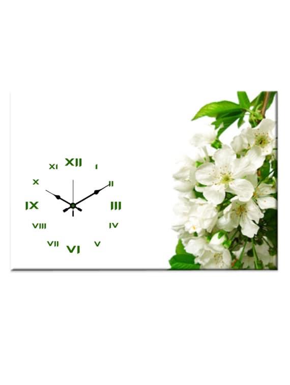 White And Green Floral Wall Clock - Design O Vista