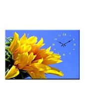 Yellow Floral Print Wall Clock - Design O Vista