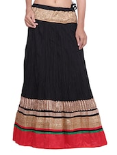 Black Cotton  Plain Skirt - By