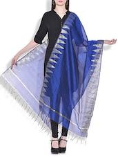 Blue Chanderi Silk Dupatta - By