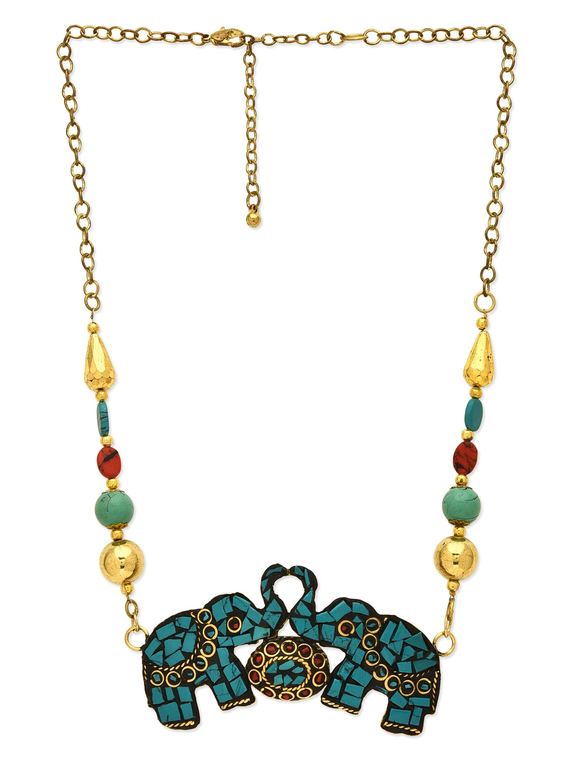 Turquoise, Gold Beads, Brass, Stones, Marble, Resin Long  Necklace - By