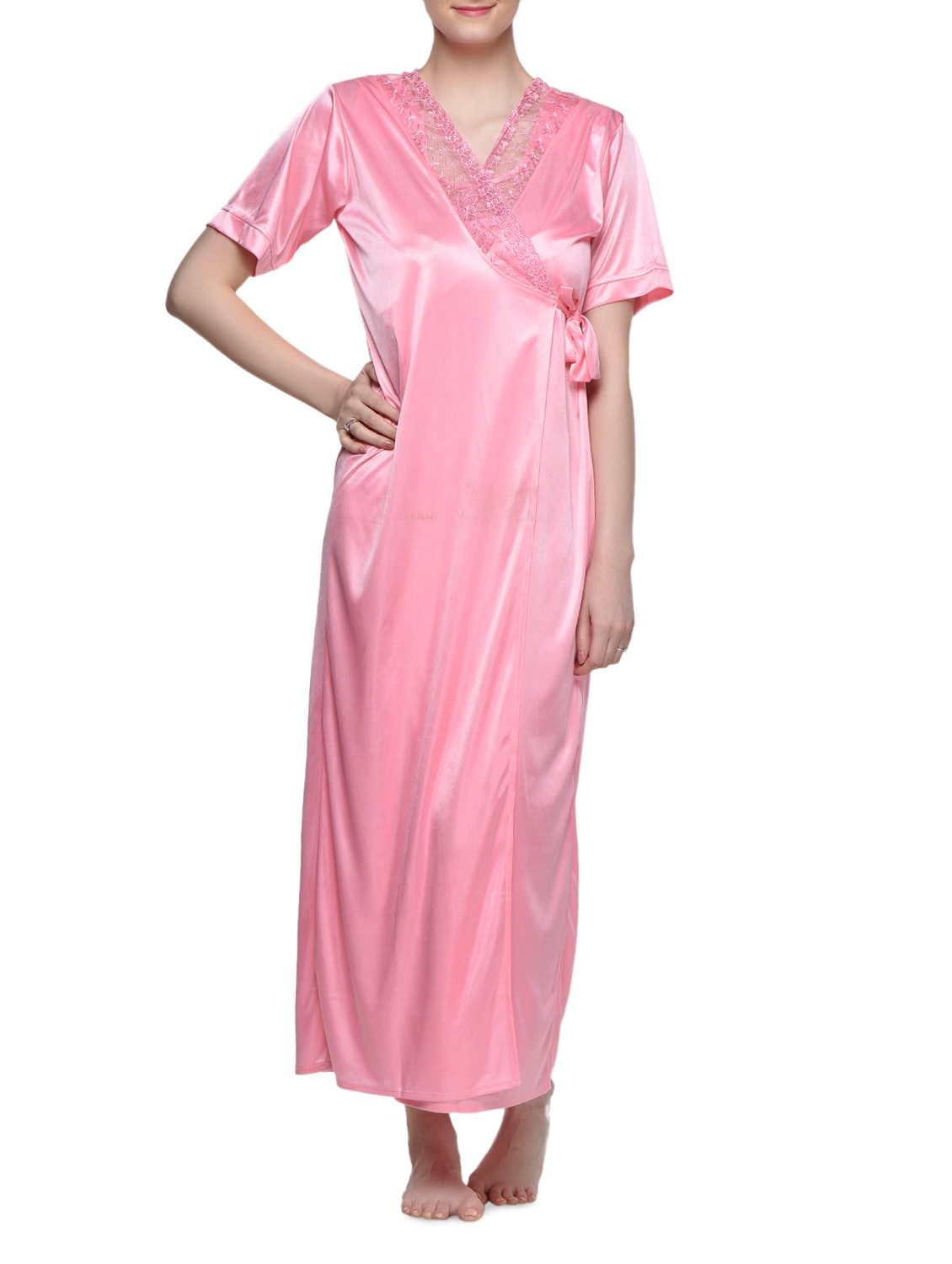 eaa35b0da9 Buy 4 Pieces Satin Nightwear Set by Clovia - Online shopping for Nightwear  in India