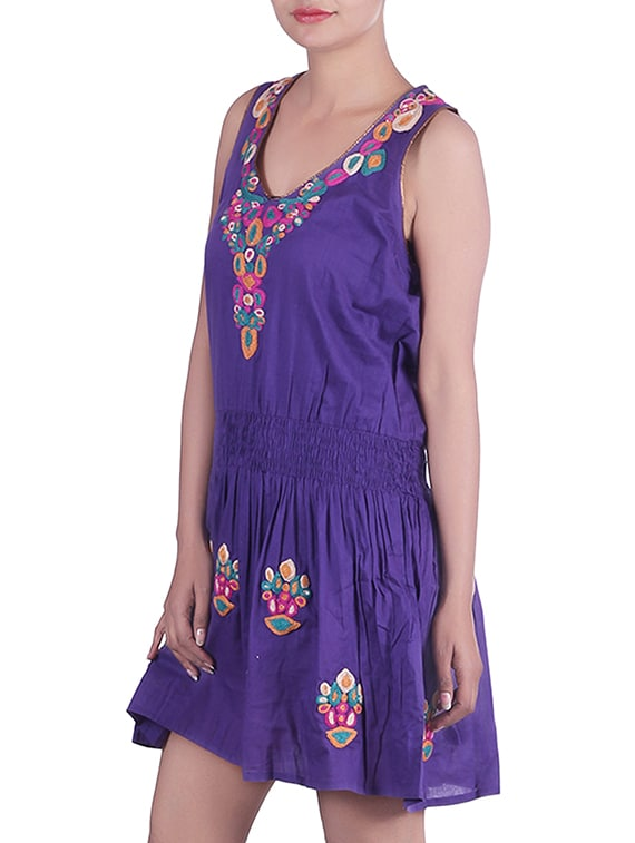 1c6f79b4cf3c Buy Purple Embroidered Cotton Tunic by Reme - Online shopping for Dresses  in India