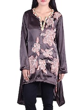 Brown Poly Satin High Low Kurta - By