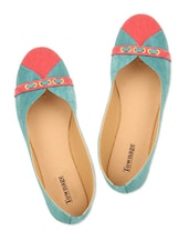 Sea Green & Red Color Cotton Poly Denim Flat Belly - Townage