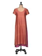 Orange Chanderi Silk With Cotton Lining Long Kurta - The Shop