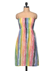 Multicolored Cotton Tube Dress For Summers - The Shop