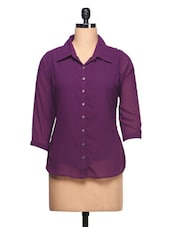 Plain Purple With Three Quarter Sleeve Shirt - Ayaany